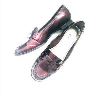 ANNE KLEIN Shiny McCloud Red Penny Loafers - 8